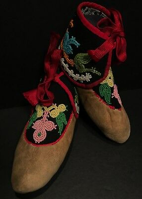 Beautiful Pr Late 19th C. Northeastern Native Amer High-Top Moccasins,Excellent