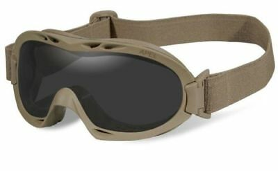 New Wiley X R-8052T Grey/Clear Nerve APEL Safety Goggles w/Tan Frame