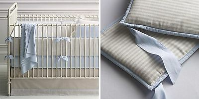 Restoration Hardware Baby Child Crib Skirt Tan White Blue NEW Flax Stripe