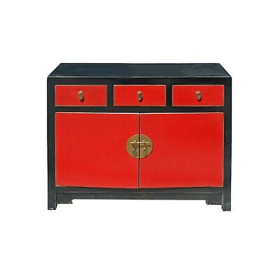 Oriental Black & Red Lacquer Mid Side Table Foyer Cabinet cs4175