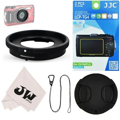 5in1 Kit Lens Adapter+Screen Protector+40.5mm Lens Cap fr Olympus TG-5 TG-4 TG-3
