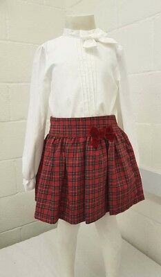 AW19 Girls Spanish Alber Red and White tartan skirt and blouse set 2-12 years