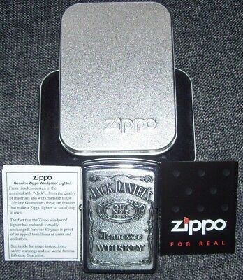New NIB Jack Daniels Zippo Complete w/ inserts Polish Chrome & pewter lighter