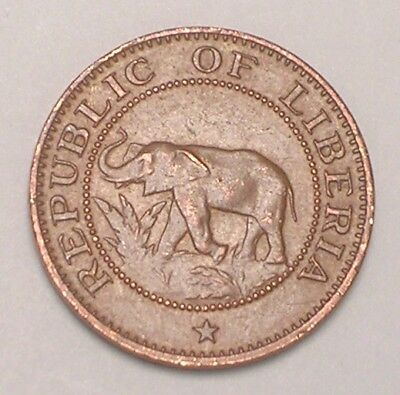 1977 Liberia Liberian One 1 Cent Elephant Native Scene Coin VF