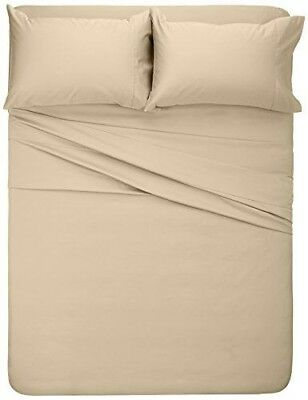 Pinzon 400 Thread Count Egyptian Cotton Sateen Full piece 4 Sheet Set Taupe Tan
