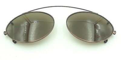 Vintage Marchon Superthin C/ST Brown Metal Oval Clips Clip on Sunglasses Italy