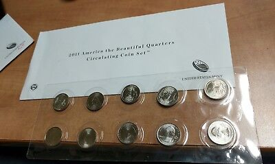 Us 2011 America The Beautiful Quarters Uncirculated Coin Set From The U. S. Mint