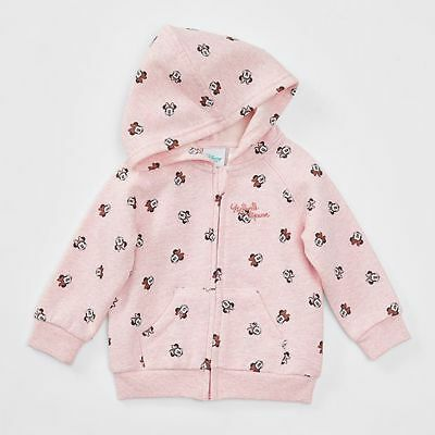 Disney Baby Girls Pink MInnie Mouse Zip Front Hoodie Size 0 New with Tags