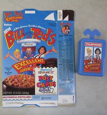 1991 Ralston Bill & Ted's Excellent Adventure Cereal Empty Box W/ Plastic Box