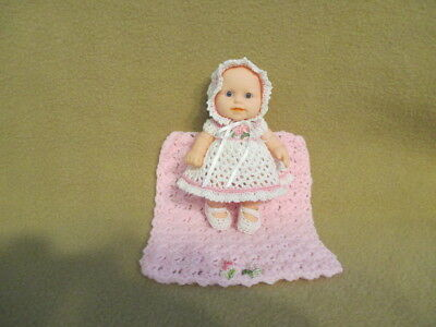 """Berenguer 5"""" Look Alike Silicone Baby Doll+ Ooak Clothes + Miniature Blanket Set"""