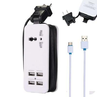USB Power Strip 4 USB Port Charger Station Travel Fast Charging Strip Outlet
