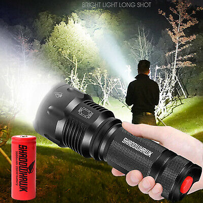 Bright 80000lm Shadowhawk Flashlight USB Rechargeable T6 LED Tactical Torch