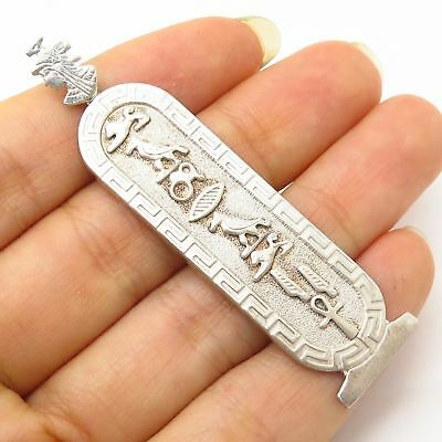 Vintage 925 Sterling Silver Egyptian Cartouche Design Large Pendant