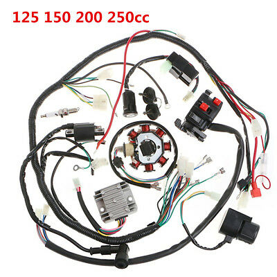 Motorcycle 125-250CC Electrics Stator Wire Loom Coil CDI Rectifier Solenoid Kit