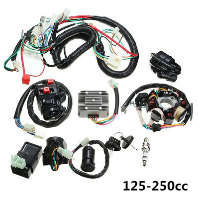 125-250CC Motorcycle Stator CDI Coil Electric Wiring Harness Loom Assembly Kit
