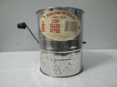 """Vintage Bromwell 3 Cup Crank Sifter  5 3/4"""" Tall And 4 3/8"""" Wide"""
