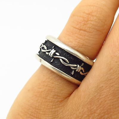 Vintage Shube 925 Sterling Silver Barbed Wire Design Band Ring Size 4 3/4