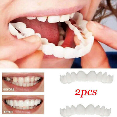 2pcs Unisex Snap On Sonrisa Ajuste Cómodo Flex Fake Dientes Top Chapa Denture