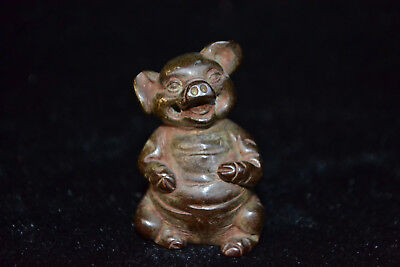 Collectible China Old Vintage handwork Copper carve lovely pig exquisite statue