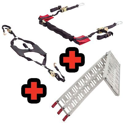 Warrior Motorcycle / Bike Ratchet Bar Strap / Tyre Down / Loading Ramp Combo