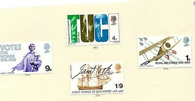 GREAT BRITAIN STAMPS - MINT SET of 4  - BRITISH ANNIVERSARIES - 1968