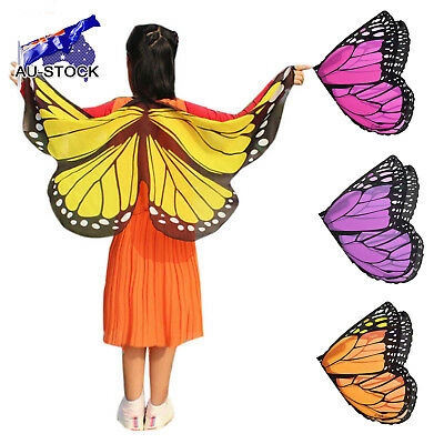 AU STOCK Soft Scarf Kid's Butterfly Wings Print Shawl Girl Boy Clothes Accessory