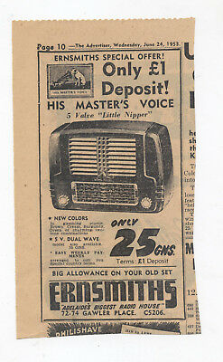 HMV Little Nipper Radio Advertisement removed from a 1953 Australian Newspaper