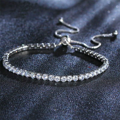 Women's Rhinestone Shiny Crystal Chain Adjustable Tennis Bracelet Bangle Jewelry