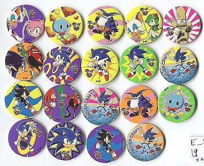 POGS - E-SONIC 19 001 Lot de 19 Pogs SONIC LE HERISSON (the Hedgehog) No Double