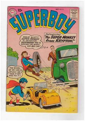 Superboy # 76 The Super-Monkey from Krypton! 1st Super-Monkey grade 6.0 scarce !