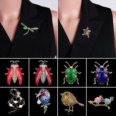 Crystal Women Animal Insect Dragonfly Bird Breastpin Brooch Pin Pearl Jewellery