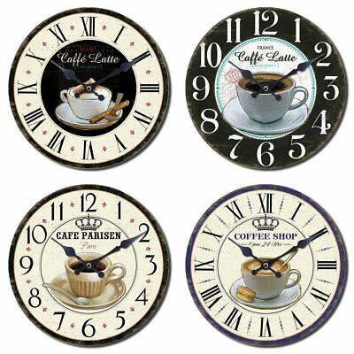 28cm Hanging Rustic Style Coffee Design Printed Kitchen Wall Clock ~ Design Vary