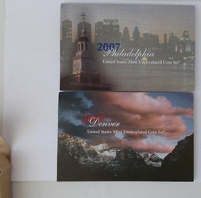 2007 US Mint Issued Uncirculated Coin Set~~Philly & Denver 28 Coins~Original Pkg