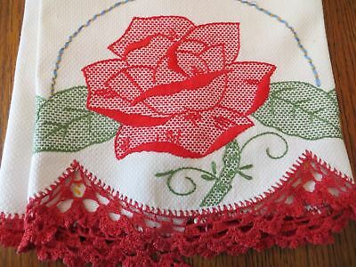 Vintage Huck Embroidery Towel Red Rose Crochet Trim