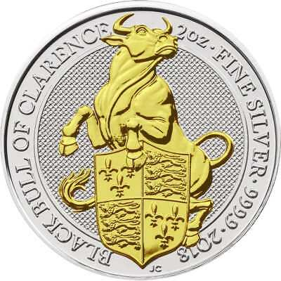 2 oz Queens Beast Bull of Clarence Bulle von England Gilded Edition