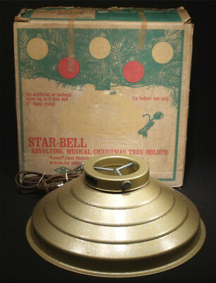 NRMT BOXED 60's STAR BELL MUSICAL ROTATING CHRISTMAS TREE STAND WORKS PERFECTLY