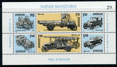 Sweden: 1980 Automotive History Mini-Sheet (1334) MNH
