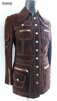 Wicked Suede Iconic Vtg 70s Penny Collared Unisex Northern Soul Zipped Jacket