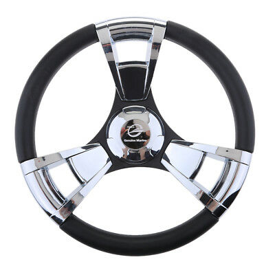 "350mm 3/4"" Steering Wheel with Polished Chromed Spokes for Marine Boats"