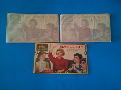 3 Mint NOS Vintage 1950's SEWING SUSAN NEEDLE BOOKS (150 needles)