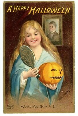 Halloween-GIRL W/ MIRROR & JACK O LANTERN-Ellen Clapsaddle Embossed Postcard JOL