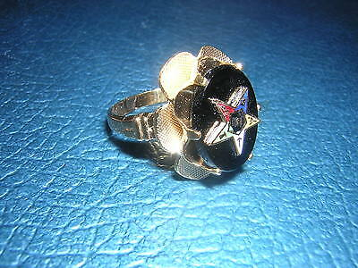 Black Onyx OVAL ribbon RING 10k Gold Fill 5 6 9 10 11 EASTERN STAR Ladies L@@K
