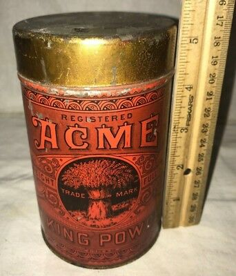 Antique Acme Tin Litho Baking Powder Can Vintage Grocery Store New York Ny Wheat