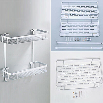 Aluminum Alloy Shower Bathroom Storage Organizer Wall Mount Shelf Holder LD