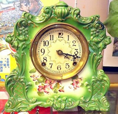 "C.1900 Sessions ""Willow"" Hand Painted Green Porcelain Mantle Clock ~Running~"