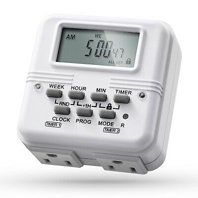 2x 7 Day 24H Heavy Duty Digital Electric Programmable Timer Dual 2 Outlet Switch
