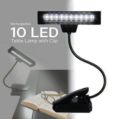 Rechargeable Goose Neck Clip On 10 LED Desk Lamp Table Read Book Light
