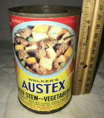 Antique Walkers Austex Beef Stew Tin Grocery Store Food Can Vintage Austin Tx