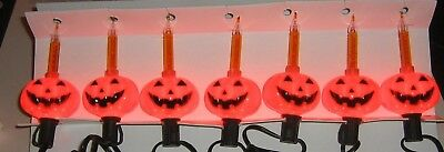 7 Bubble Lights Halloween Boxed Set Jack-O-Lanterns Pumpkins Indoor Black Wire
