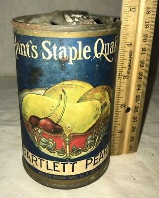 Antique Hunts Staple Bartlett Pears Tin Grocery Store Can Vintage San Francisco